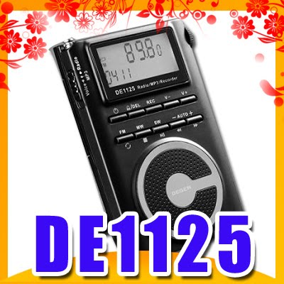 DEGEN DE1125 FM/MW/SW DSP Radio/2GMP3/Recorder 5pcs pocket radio 9k portable dsp fm mw sw receiver emergency radio digital alarm clock automatic search radio station y4408