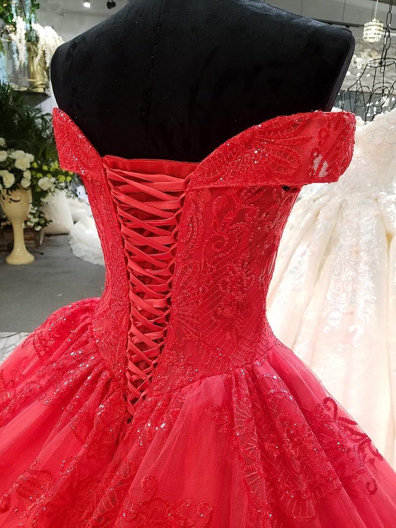 off-the-shoulder red wedding dress