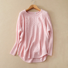 Women's 100% pure cashmere sweater raglan sleeves pullover solid color winter loose sweaters with O-neck round lap hem