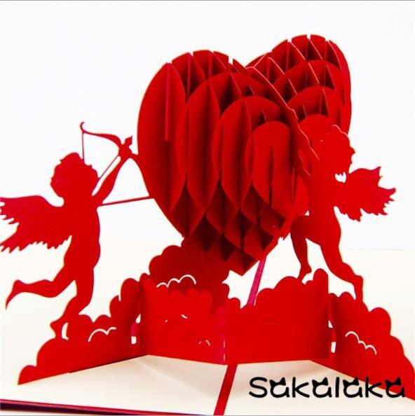 creative handmade 3D Cupids heart Romantic valentines day love