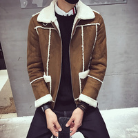 Mens Winter Jackets Shearling Jackets Mens Bomber Jackets Fur Collar Brown Parka Mens Vintage Coats Slim Fit Chaquetas Hombre