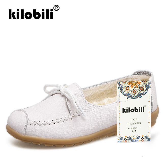 kilobili 2018 Autumn Women Flats Shoes Women Genuine Leather Shoes Ladies Fur Slip On Ballet Flats Loafers Female Ballerina 1
