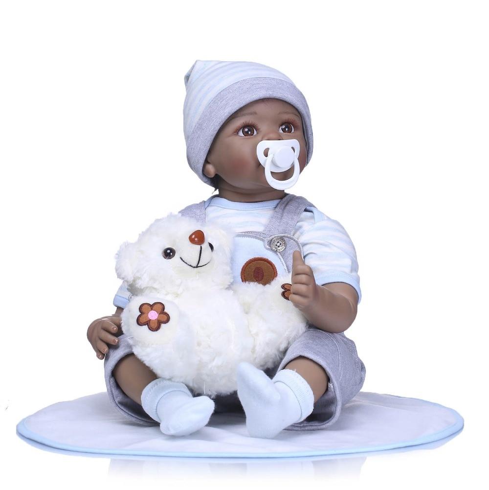 """NPK 22 """"reborn silicone vinile bambole del bambino nero gioco per bambini bebe regalo boneca reborn silicone reborn baby dolls giocattoli per bambini-in Bambole da Giocattoli e hobby su  Gruppo 2"""