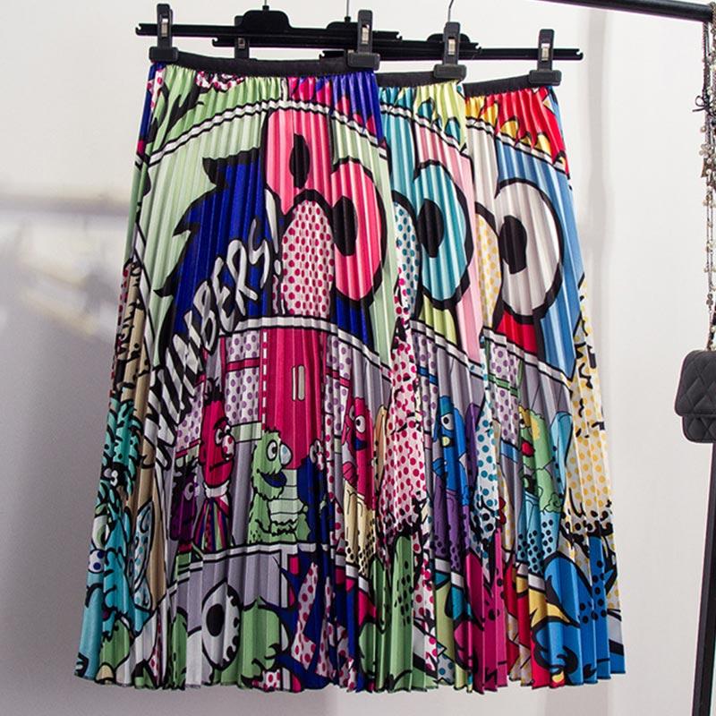 Cartoon Print Pleated Women Long Skirts High Waist A-Line Elastic Blue Pink Skirt For Ladies 2019 Summer Casual Female Bottoms