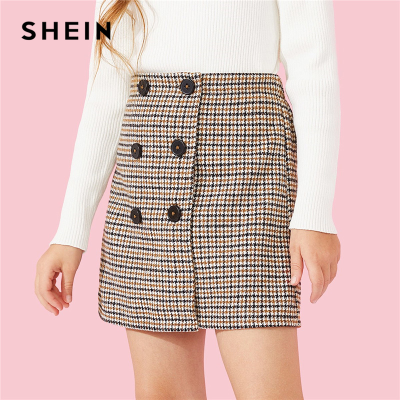 SHEIN Kiddie Double Button Houndstooth Elegant Girls Skirts 2019 Spring Korean Style Mini Skirt Girl Casual Shift Kids Skirts
