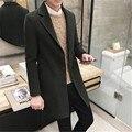 Мужская новый 2017 осенне-зимней моды сплошной цвет шерстяные пальто Корейский Тонкий в долгосрочной тенденции все-матч шерстяной жакет M-5XL