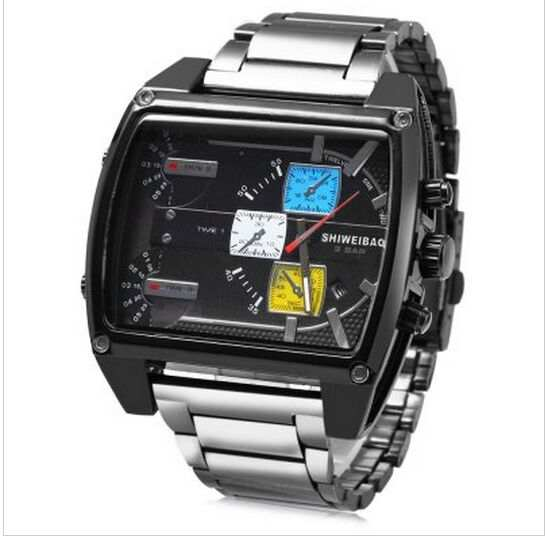 c2b6c880e0f placeholder Homens Grande Mostrador do relógio de marca shiweibao Vários  fusos horários Relógio Ocasional Relógio Masculino Relógio