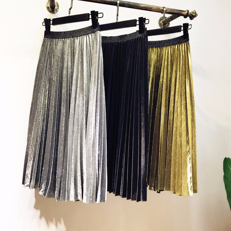 2018 Fashion Metal Color Gold Silver Shiny Skirt Punk Women Elastic High Waist Pleated Skirt Female Night Club Party Style