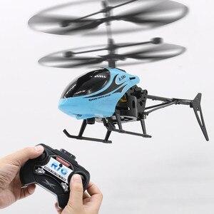 Image 3 - Mini RC pilot indukcyjny na podczerwień RC zabawka 2CH Gyro helikopter RC zdalnie sterowany dron helikopter niebieski zielony Model a612