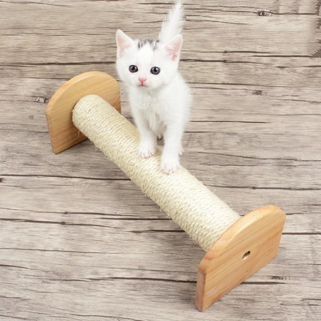 Cat Bridge Climbing Frame Cat Pine Sisal Scratch Column Kitty Toys ...