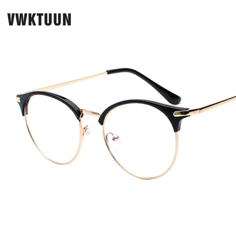 VWKTUUN Vintage Eyewear Glasses Frame Clear Glasses Half Frame Metal Eyeglasses Optical Glasses Frame Students Fake Glasses