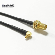 Wireless modem cable MMCX male right angle to RP SMA female nut male pin pigtail adapter RG174 20cm wholesale price