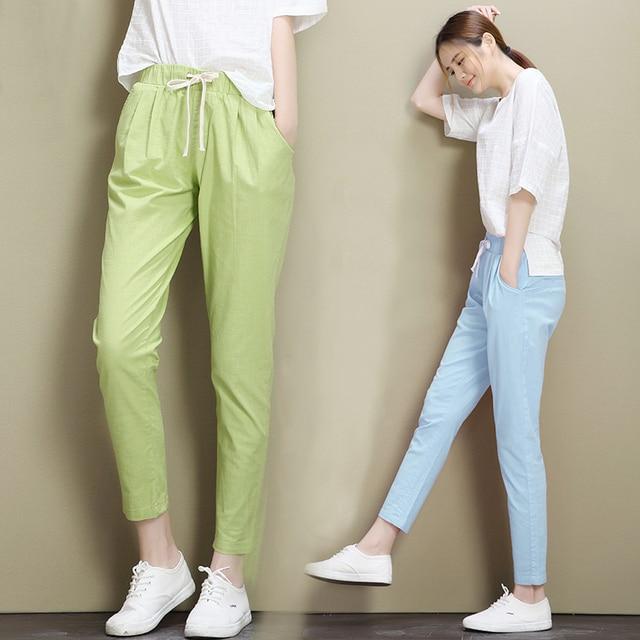 46bc8f8bf8 2019 de algodón de otoño pantalones de lino para las mujeres de cintura  elástica de Color