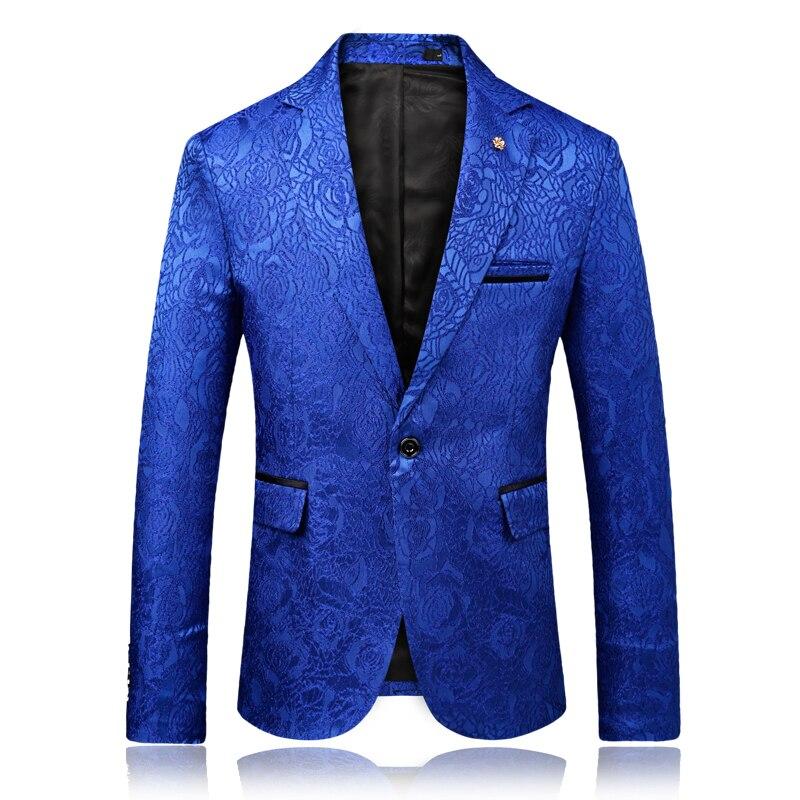 Men Slim Fit Blazers Jackets Smart Casual Suits Jackets New Fashion Men Blue Flower Blazers Mens Wedding Dress Coats Size 3XL