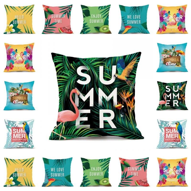 2018 Summer Flower Birds Cushion Cover 45X45cm Palm Leaf Flamingo Cactus Soft Pillow Cases Pillow Covers Bedroom Sofa Decoration