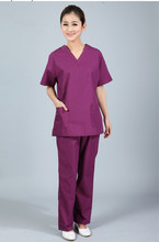 New plus size WoMen's V neck Summer Nurse Uniform Hospital Medical Scrub Set Clothes Short Sleeve Surgical Scrubs