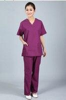 New Plus Size WoMen S V Neck Summer Nurse Uniform Hospital Medical Scrub Set Clothes Short