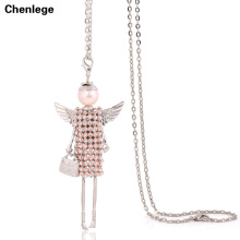 cute doll necklace women jewelry female pendants accessories long chokers fashion angel wings crystal rhinestone necklaces