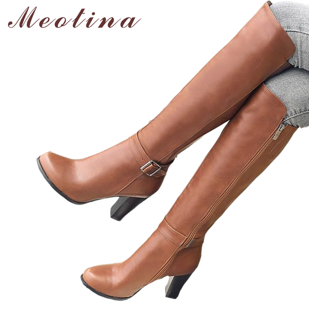 Meotina Winter Thick High Women Heel Knee High Boots Shoes Riding Boots Buckle Long Boots Zipper Ladies Footwear Brown Gray 45 stretch lycra womens knee high boots thick mid heel long riding boots shoes winter autumn boots black beige wine dark gray