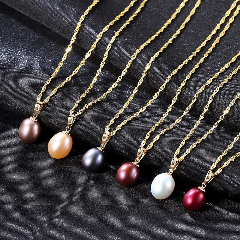 Image 2 - CZCITY 18K Yellow Gold Pendant Six Colors Natural Freshwater Pearl Pendant Free 925 Water wave Necklace 40+5cm Gift for Women-in Necklaces from Jewelry & Accessories