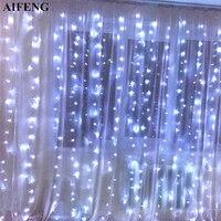 AIFENG Led Curtain String 3Mx1 5M 3Mx2M 3Mx3M Christmas Garland 144Led 192Led 300Led Fairy Light For