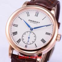 40 мм Debert белый циферблат розового золота синими стрелками коричневый кожаный ремешок Автоматическая Мужские часы 1731 316 316L нержавеющая стал