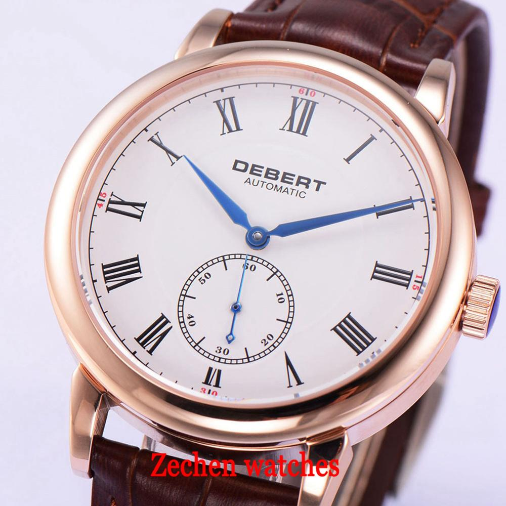 40mm Debert white dial rose gold case blue hands brown leather strap Automatic mens Watch 1731 316 316L stainless steel