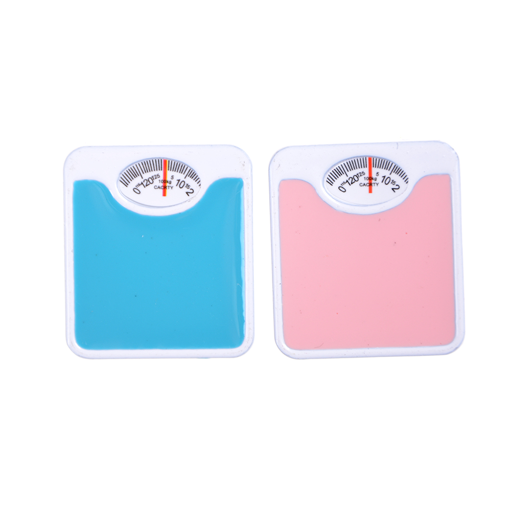 Unisex 1:12 Scale Portable Dolls House Miniature Weigh Scale Blue Dolls  Dollhouse Decoration Gift