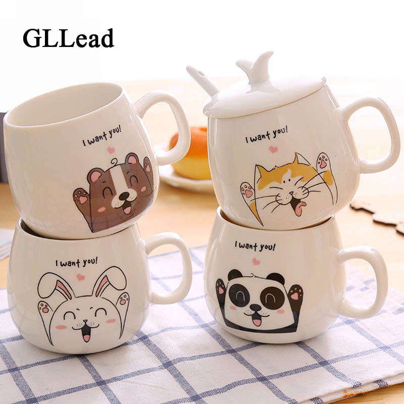 Gllead Creative Cute Animal Expression Ceramic Coffee Mug Cartoon Image Milk Breakfast Cups Porcelain With Lid And Spoon In Mugs From Home Garden