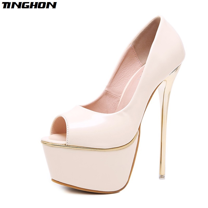 TINGHON New Apricot Black Sexy Women Pumps Personality <font><b>17</b></font> <font><b>cm</b></font> <font><b>High</b></font> <font><b>heel</b></font> Temperament <font><b>High</b></font>-heeled shoes Peep Toe Pumps size 34-40 image