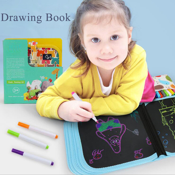 Portable Soft Board Canvas Drawing Book Blackboard Drawing Album With 6 Pcs Water-based Chalk Painting Drawing Toys For Kids