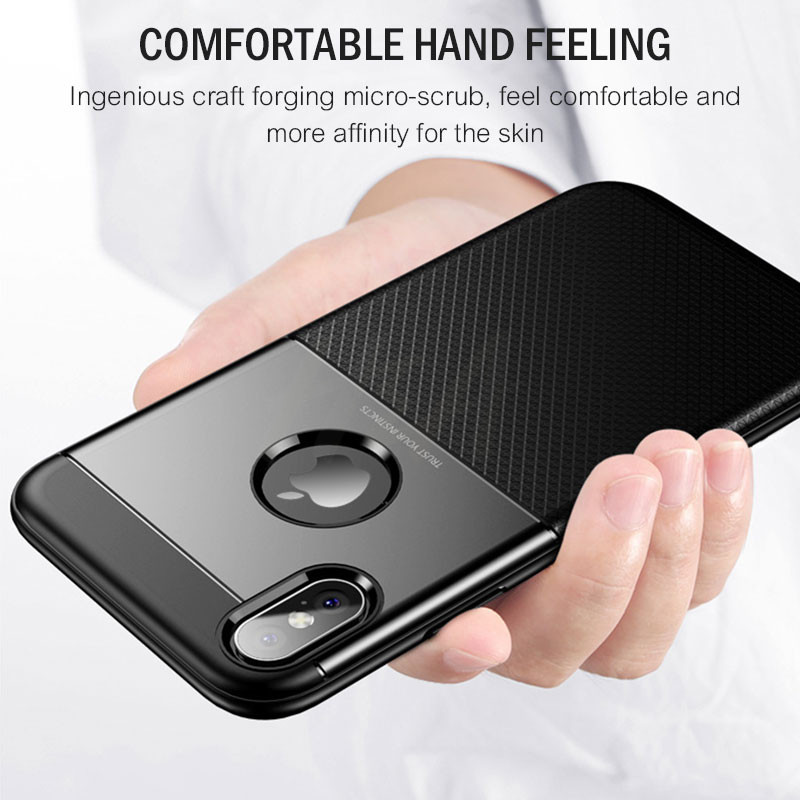 H&A Luxury Full Cover Phone Case For iPhone X 6 8 7 Plus Hard PC Leather + Soft TPU Protective Cover For iPhone 7 8 X Case Shell