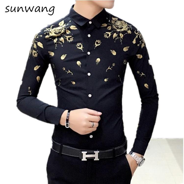 Mens gold dress shirt kamos t shirt for Patterned dress shirts for men