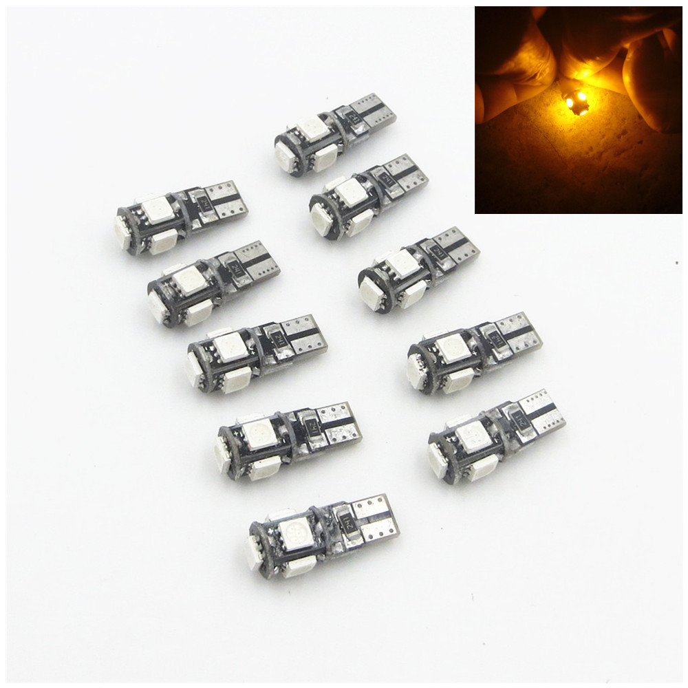 10pcs/lot T10 5 smd 5050 led Canbus Error Free Car Lights W5W 194 5SMD Reading License plate Light Bulbs Amber