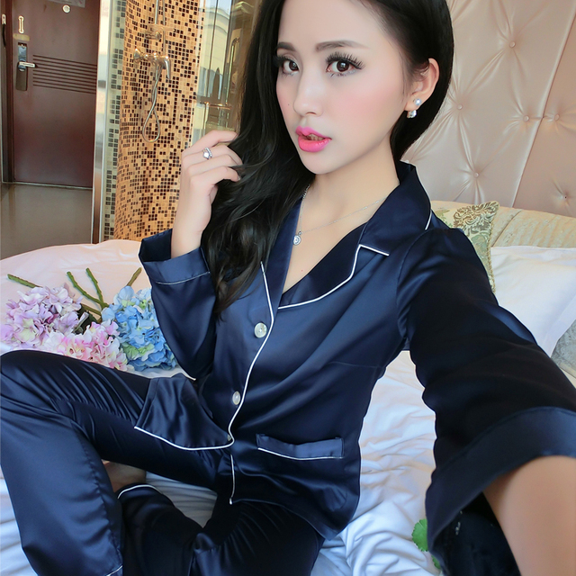 Women Elegant Silk Satin Pajama Set Long Sleeve Pijama Set V-neck Pyjama Femme Solf Sleep Wear Night Wear Fashion Home Clothes 2
