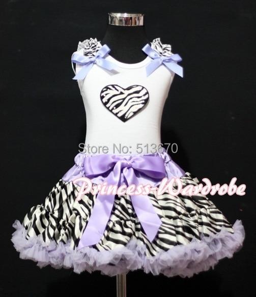 Valentine White Pettitop Top Zebra Ruffles Heart Lavender Zebra Pettiskirt 1-8Y MAPSA0263 halloween rhinestone cat black pettitop girl green zebra pettiskirt outfit 1 8y mamg1226