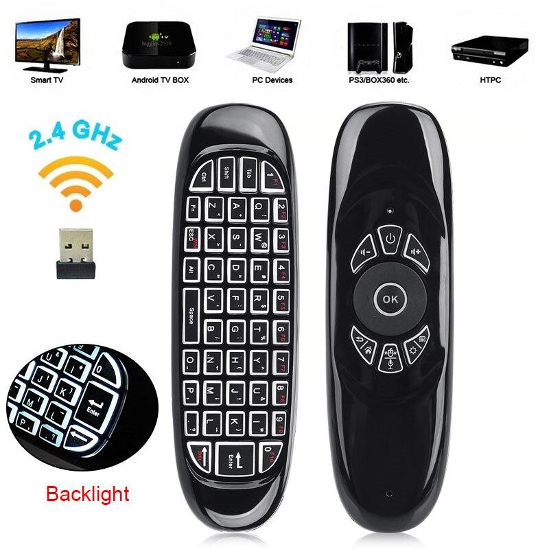 C120 Voz 6-Eixo Giroscópio Air mouse teclado QWERTY Controle Remoto aprendizagem IR 2.4G Recarga Sem Fio da luz de Fundo Para caixa de TV Android