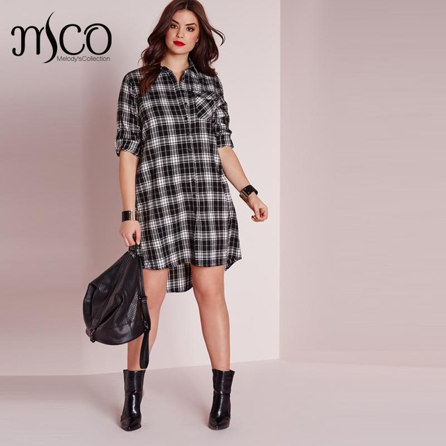 Elegant Autumn Classic Long Sleeves Check Office Long Shirt Dress ...