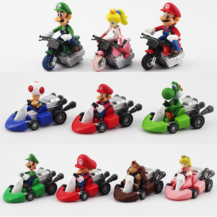 10pcs/set New Cute Super Mario Bros Kart Pull Back Car Motorcycle PVC Action Figure Toys Brithday Gift For Children Nibbler