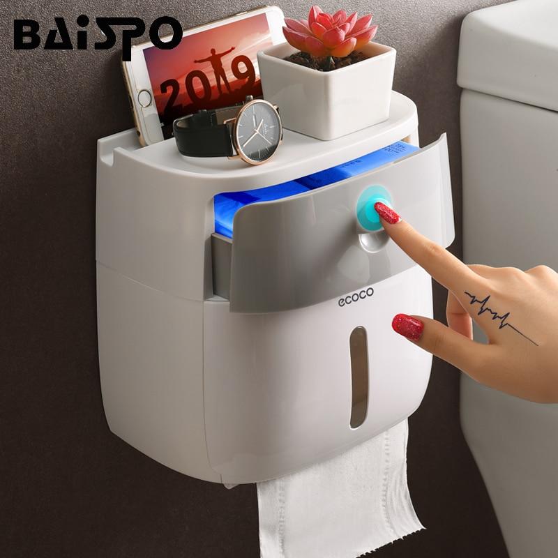 BAISPO คู่ชั้นสุขาผู้ถือกระดาษกล่องกันน้ำติดผนังห้องน้ำ ROLL Dispenser แบบพกพาสุขาผู้ถือกระดาษ