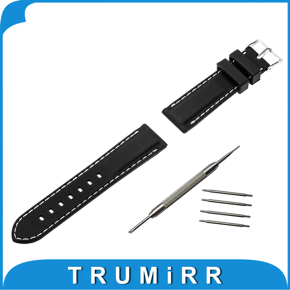 22mm Silicone Rubber Watch Band for Pebble Time Steel Asus Zenwatch 1 2 22mm Stainless Steel Buckle Bracelet Strap Black Silver