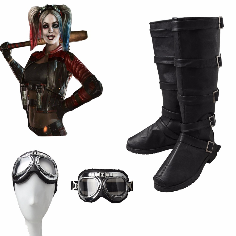 Game Injustice 2 Harley Quinn Cosplay Costume fight Suit Cosplay Boots Harley Quinn Suit Accessories Props Boots Shoes