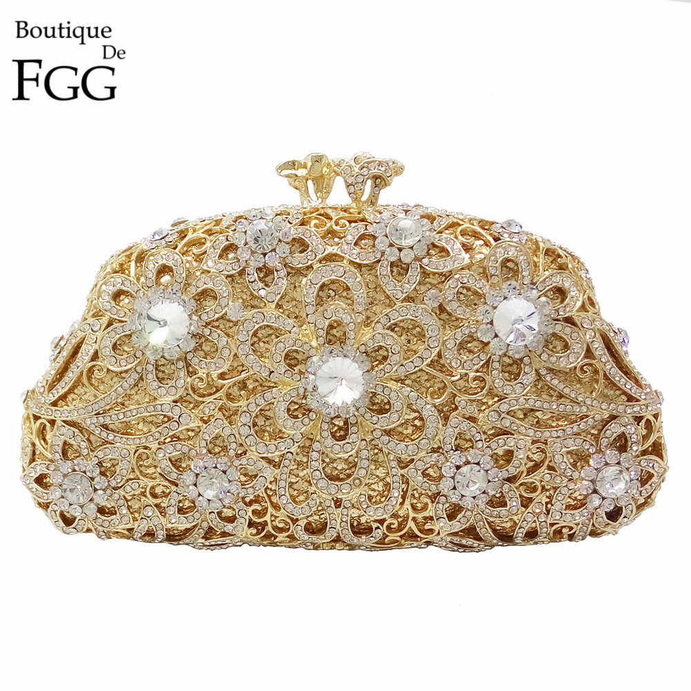 Gift Box Packed Lolita Lady Clutches Purse Party Wedding Brides Clutch Bag Women Diamond Evening Bags Hollow Out Flower Handbags gift box hollow out floral evening day clutches party wedding vintage rhinestone evening pink crystal clutch bag women handbags