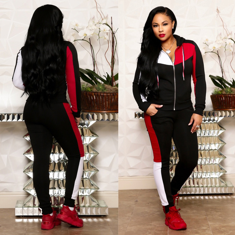 New Hooded Long Sleeve Zip Open Patchwork Hoodies Pencil Long Pants Two Pieces Sporting Women's Sets Tracksuits Outfits S3491