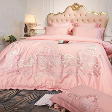 Pink White Blue European Style Luxury Royal Embroidery 80S Egyptian Cotton Bedding Set Duvet Cover Bed Linen/sheet Pillowcases