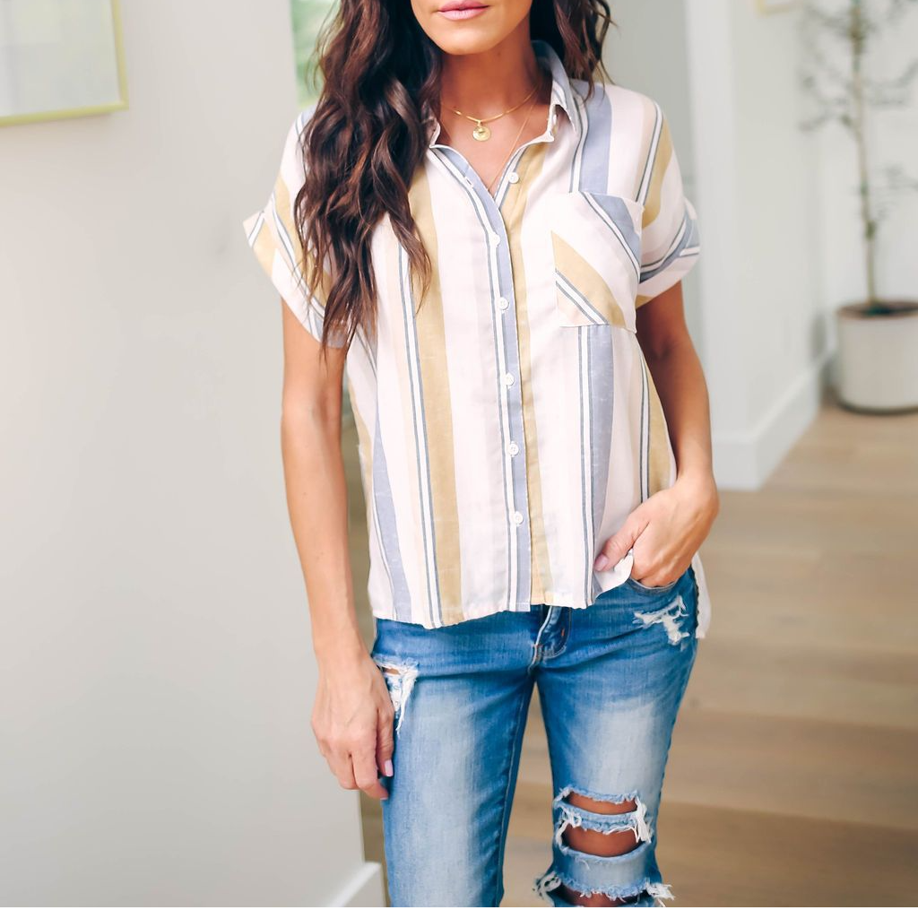 Slim Women Short Sleeve Shirt 2019 Fashion Printed Striped White Female Office Shirts Summer Womens Buttons Casual Top T Shirts