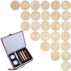 26 English Alphabets Wax Stamps Set Wooden Handle Metal Sealing Stamps Wax Seals Stamp Craft Gifts
