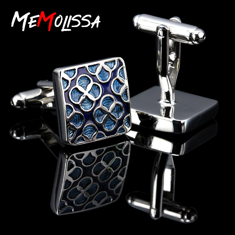 MeMolissa Vintage Pattern Blue Cufflinks For Mens Jewelry Shirt Cufflinks Brand Cuff Buttons Silver Color Cuff Link High Quality