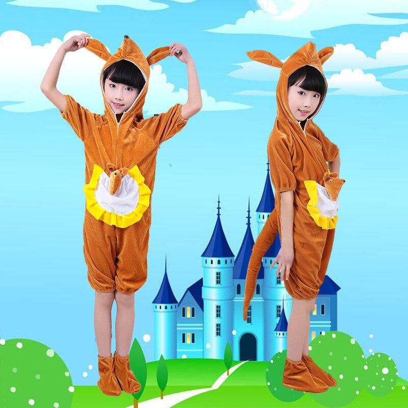 Childrens Animals Costume Kangaroo Squirrel Cartoon Modeling Drama Dance Toddler Cartoon Animal Costume Kids Halloween Jumpsuit
