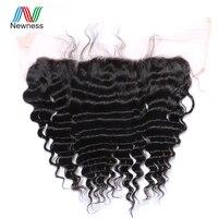 Newness Hair Brazilian Deep Wave 13*4 Ear to Ear Free Part Lace Frontal Closure 100% Human Hair 10 22 Inch Brazilian Virgin Hair